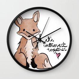 Introvert Quote Cute Watercolor Fox Art Wall Clock