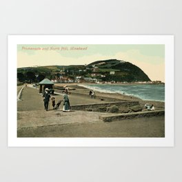 Vintage Minehead Promenade and North Hill  Art Print