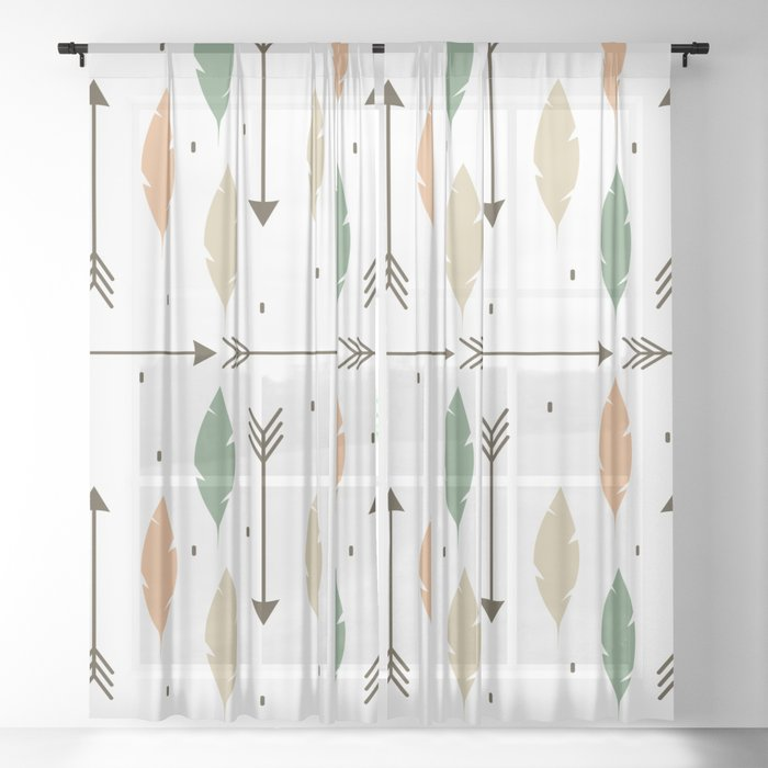cute colorful feathers and arrows ethnic tribal pattern background Sheer Curtain