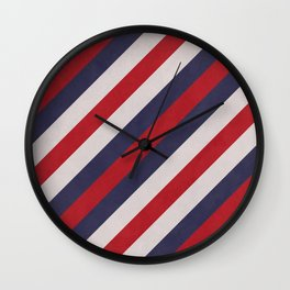 Red, Navy Blue & White Stripes Pattern Wall Clock