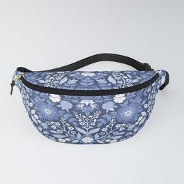 Rose Hip Folk Floral Pattern Blue Fanny Pack
