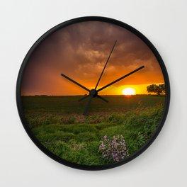 Autumn Sunset - Flowers and Tree on Oklahoma Plains Wall Clock