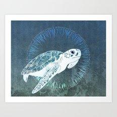 Green Sea Turtle Wreath Art Print