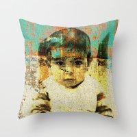 boy Throw Pillows featuring Boy by Lia Bernini