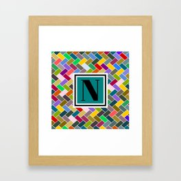 N Monogram Framed Art Print