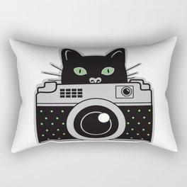 Black Cat and Camera Rectangular Pillow
