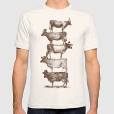 Cow Cow Nuts LARGE Natural Mens Fitted Tee