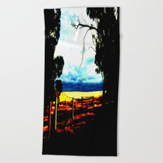 Storm clouds over wheat Fields Beach Towel
