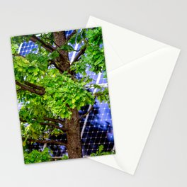 Four Seasons Photosynthesis - Summer. Green Oak Tree And A Solar Power Panel Stationery Cards