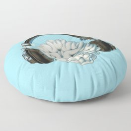 Mind Music Connection /3D render of human brain wearing headphones Floor Pillow