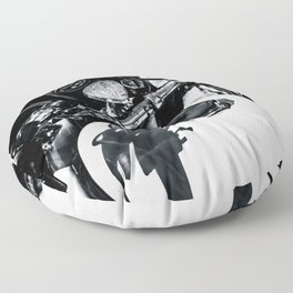 Details Of A Vintage Motorcycle Black White Floor Pillow