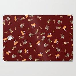 Mushroom Pattern - Maroon Cutting Board