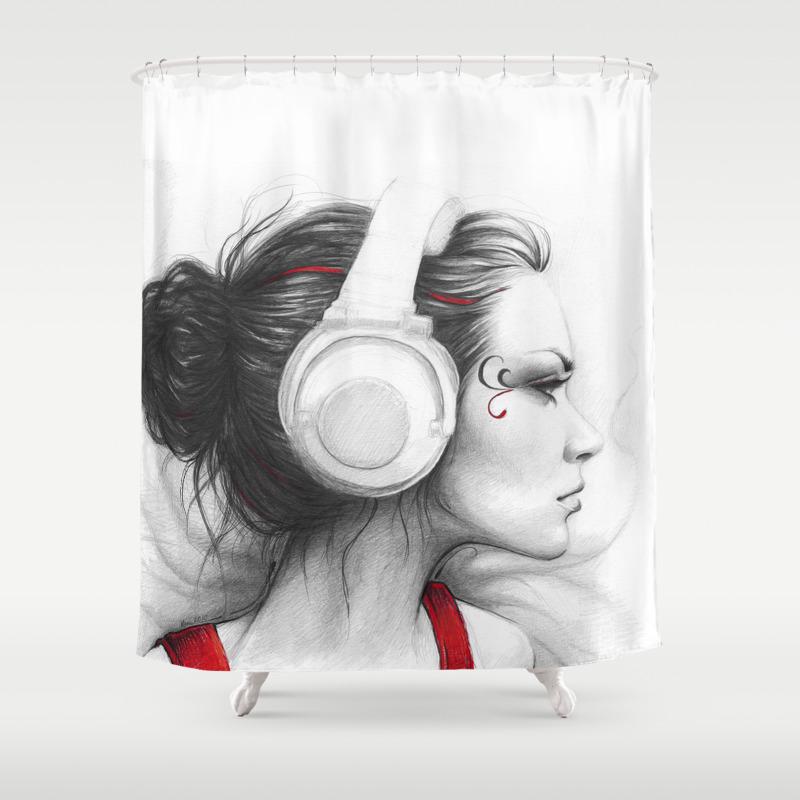I Love Music Girl In Headphones Shower Curtain By Olechka Society6