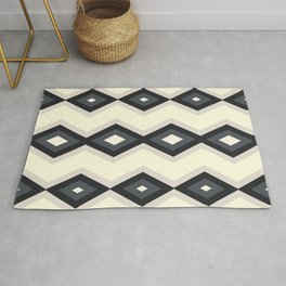 Geometric triangles shapes beige and blue retro colors Rug
