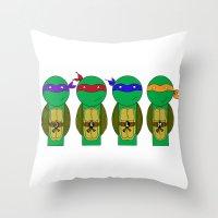 teenage mutant ninja turtles Throw Pillows featuring Teenage Mutant Ninja Turtles by Jen Talley