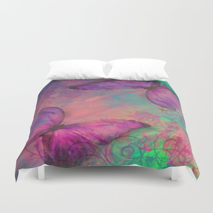 Butterfly Love Abstract Duvet Cover