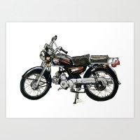 Motorcycle (Red & Black) Art Print