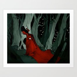 Snow White Lost in the Woods Art Print