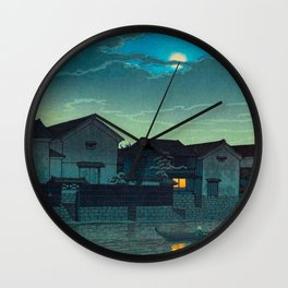 Kawase Hasui Vintage Japanese Woodblock Print Japanese Village Under Moonlight Cloudy Sky Wall Clock