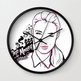 One for the Money (Black) Wall Clock