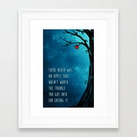good omens Framed Art Prints featuring Good Omens - The Apple by saehral