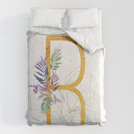 Modern glamorous personalized gold initial letter R, Custom initial name monogram gold alphabet prin Comforters
