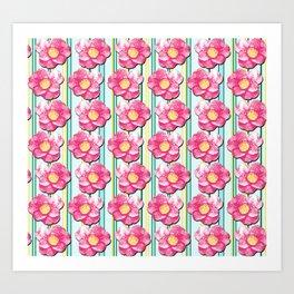 Tumbling Camellias Art Print