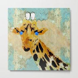 Giraffe Baby Pop Art Metal Print