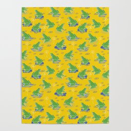 Green Frog On Lily Pad Poster