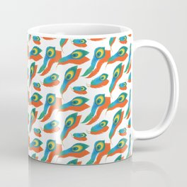 Peacock Feather Pattern With Orange Drop Shadow Coffee Mug