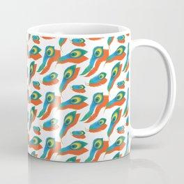 Peacock Feather Pattern With Orange Drop Shadow Coffee Mug