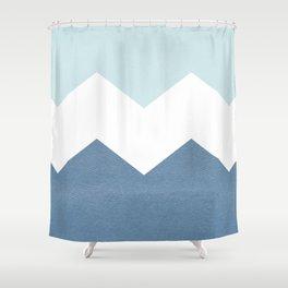 BLUE BLOCK CHEVRON Shower Curtain