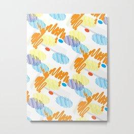 Contemporary interior design shapes unique pattern orange, blue decoration style Metal Print