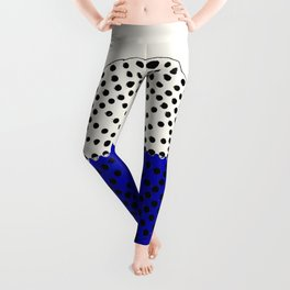 Abstract Sunrise Of Black Hole Sun. Navy Blue And Floralwhite Leggings