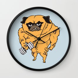 Buff Pug Wall Clock