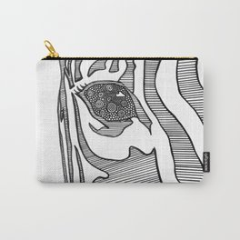Black And White Zebra Portrait Carry-All Pouch