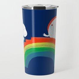 Unicorn on rainbow slide Travel Mug