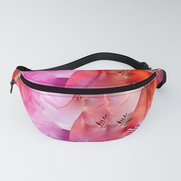 Floating Pink & Soft Red Roses & Gold Leaves Fanny Pack