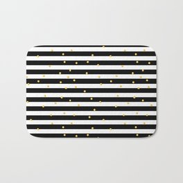 Modern black white gold polka dots striped pattern Bath Mat