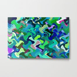 Deep underwater, abstract nautical print in blue shades Metal Print