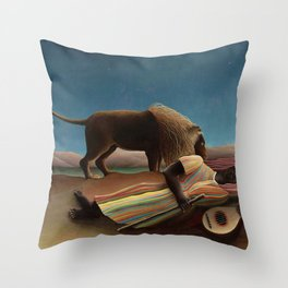 'The Sleeping Gypsy' Lion and Moon While Sleeping in the Desert by Henri Rousseau Throw Pillow