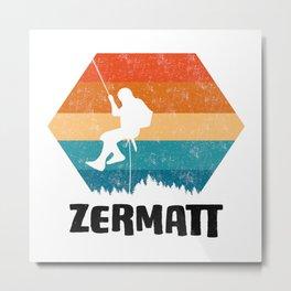 Climbing Gift Tee Climber TShirt Bouldering Shirt Zermatt Rock Climbing TShirt  Metal Print