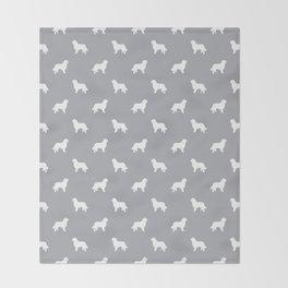 Bernese Mountain Dog pet silhouette dog breed minimal grey and white pattern Throw Blanket