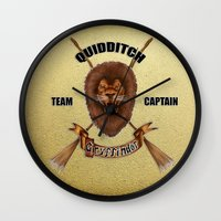 quidditch Wall Clocks featuring Gryffindor Quidditch Team Captain by JanaProject