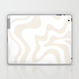 Liquid Swirl Abstract Pattern in Pale Beige and White Laptop & iPad Skin