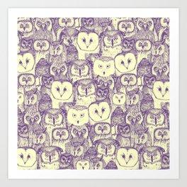 just owls purple cream Art Print