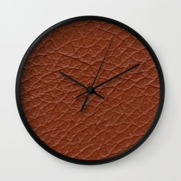 Spice Brown Leather Texture Wall Clock