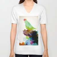 shipping V-neck T-shirts featuring Bird standing on a tree by contemporary