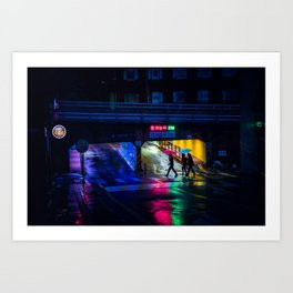 Neon Umbrellas Art Print