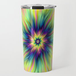 Combustion in Yellow Turquoise and Blue Travel Mug